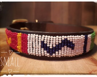 African beaded leather small dog collar. Ethically sourced, fair trade Handmade in Kenya. Double sided leather with brass buckle. Fair Trade