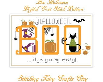 Cross Stitch Boo Halloween digital pattern pdf, cross stitch designs, counted cross stitch, cross stitch chart.