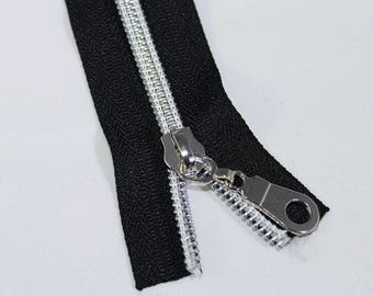 5 yds of Black Zipper by the yard with silver coil & 15 Zipper Pulls, #5 Nylon Coil Zipper Kit, #5 Black Zipper Tape with silver coil