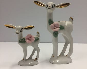 Set of two Vintage big eared Deer with Rose Figurines - Porcelaion Ceramic Chase Japan