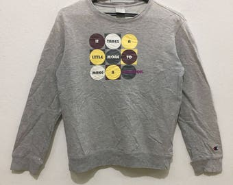 CHAMPION Product Womens Crewneck Sweatshirt Big Logo Spell Out Gray Sweaters