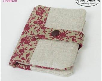 Wallet/cardholder cotton linen Beige and Burgundy flower fabric