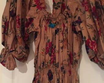 Vintage 80s Floral print Tiered Full Skirt Elastic Waist & Neck Puff Sleeve Dress
