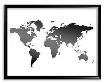 Black And White Map Etsy - World map white