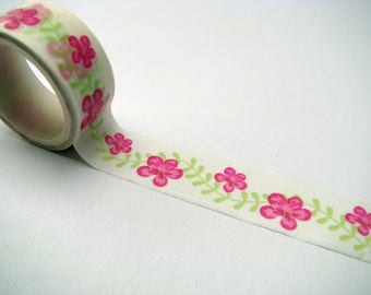 Washi tape - 15 mm - pink flowers - green leaves - white background
