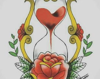 Hour glass tattoo