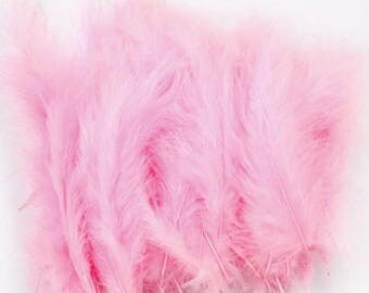 Set of 5 pink feathers