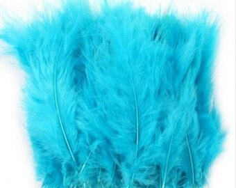 Set of 5 blue feathers