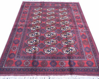 Bokhara 6.10X5 ft Red Rug FREE SHIPPING! made with the soft wool in the northeren of Afghanistan by Torkmen design Persian Baluch Area Rug