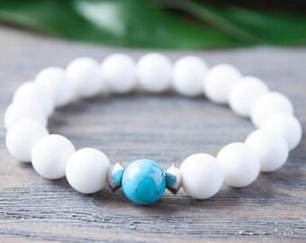 Snow White Beads Turquoise Bracelet New Age Bracelet Modernist Bracelet Gemstone Bracelet Gay Bracelet Cousins Bracelet Distance Bracelet