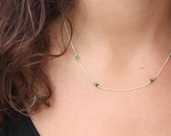 Emerald Necklace-Sterling Silver Chocker-Genuine Emerald-Dainty Emerald Necklace-May Birthstone-Silver Emerald Necklace-Beaded Emerald Chain