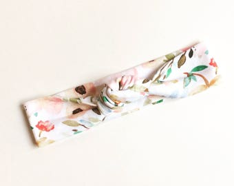 Watercolor Floral Top Knot Headband/knotted headband/baby headband/toddler headband/kids headband/adult headband/ boho/ indie