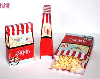 Popcorn Box Printable | popcorn bag, popcorn favor bag, goody box, popcorn favors, popcorn bags, popcorn party favor, popcorn box favor