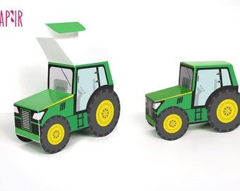 Green Tractor Box | tractor birthday, john deere tractor, printable tractor, tractor ornament, tractor nursery art, surprise box