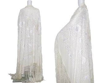 1950s Ivory Silk Embroidered Piano Shawl