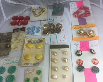 Collection mid-century and later Buttons, leftover stock from Old Haberdashery Shop. All colours, some on Original Cards. Plastic and Metal.
