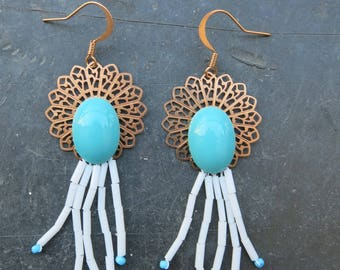 Gold and turquoise charms earrings
