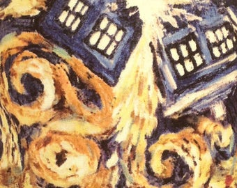 Doctor Who exploding tardis BBC fabric. Table lamp, handmade fabric cylinder design, ideal gift for Doctor Who fans.