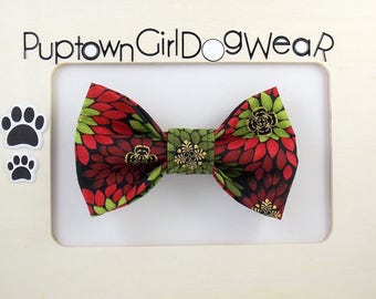 Holiday Bow Tie Dog Bow Tie Christmas Dog Bow Tie Red Green Bow Tie Pet Bow Tie Velcro Bow Tie