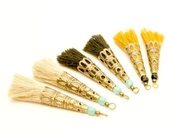 Pom poms 6 Beige, black, mustard, Turquoise bead, Bronze, Tassel