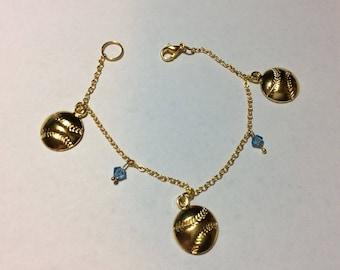 """Bracelet for women """"Bicone Swarovski beads and Golden balls"""""""
