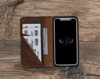 Leather iPhone X Case, iPhone X Case, iPhone X Wallet case, iPhone X Leather Case, iphone X Brown leather case, iPhone X Wallet #PENTRA PLUS