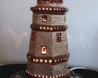 Ceramic lighthouse light. Table top light. Decorative light. Nautical decor. Ceramic light.lighthouse decor.house warming gift.lighthouse
