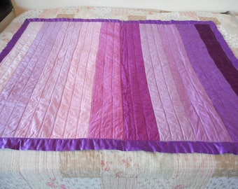 Purple and pink ombre lap quilt, Sofa throw blanket in solid stripes