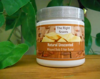 Whipped Body Butter Natural Scent Shea, Mango, & Cocoa Organic and Fair Trade Moisturizer for Skin and Hair 4-oz. Jars and 16-oz. Jars
