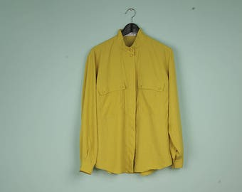 brigitte both lemon yellow shirt vintage buttoned up blouse with pockets long sleeve mandarin chinese collar