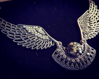Valkyrie, wings precious Necklace with real cristal -70% !