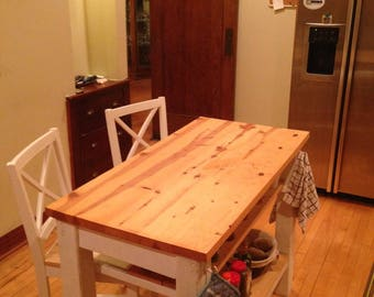 2 half shelves, Kitchen Island with seating for 2,3 or 4.  Country farmhouse style butcher block table top - Custom sizes available