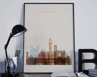 Florence Art Florence Watercolor Florence Multicolor Florence Wall Art Florence Wall Decor Florence Home Decor Florence Skyline Tuscany Art