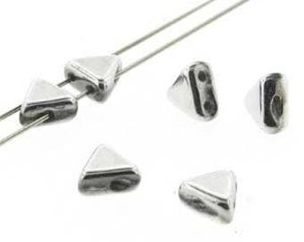Kheops Par Puca Argentees Czech Glass Beads Triangle Shape 4 Making Bead Art Jewelry Designs // 6mm, 9gr Tube, Argentees