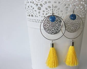 Earrings in surgical steel, tassel and pineapple
