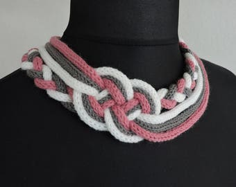 Pink knitting old white gray sailor knot necklace