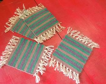 Rug Coasters, Mini Rugs, Boho Decor