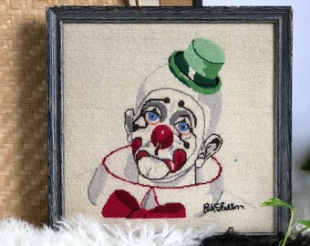 Vintage Clown Decor, Sad Clown Needlepoint