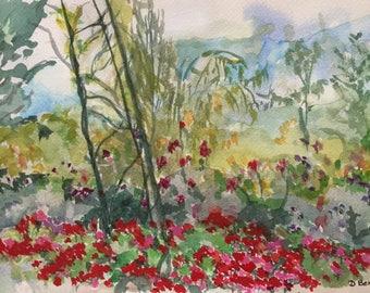 Monet's Garden Giverny France original watercolor