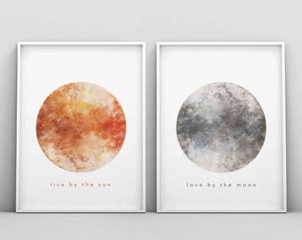 Live by the Sun Love by the Moon, Set of Two Printable, Watercolour Print, Above Bed Decor, Sun and Moon Set, Minimalist, Modern Wall Art