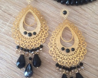 Black Earrings/ Drop Dangle Earrings/ Chandelier Earrings/ Long Earrings/ Fashion Earrings/ Boho-Chic earrings/ Statement Earrings/ Pendants