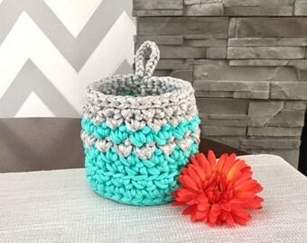 Light Green and Grey Storage Basket Crochet