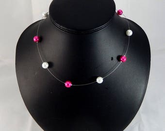 """Necklace """"Luce"""" pearls wedding fuchsia and white - customizable"""