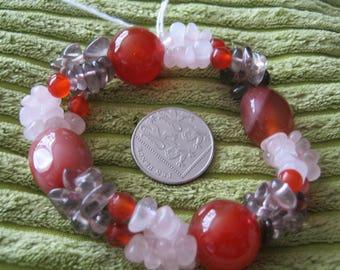 Agate bracelet Carnelian, smoky quartz and rose quartz 8in