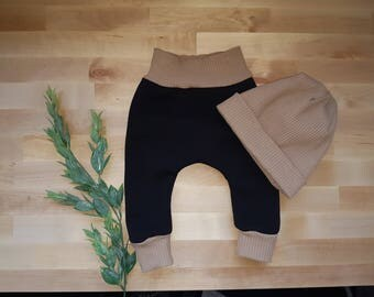 Size 3-6mnth Fleece harem pants & slouch beanie