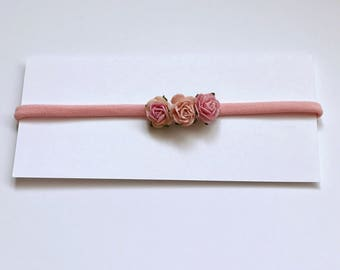 SALE - Pink colour nylon headband with 3 mulberry paper flowers