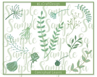 SVG Leave Template, Paper Flower Leaf Template, Conceptual Paper Leave, Set of 12 Leaves of two layers, Paper Flower Leaves, Leaves Template