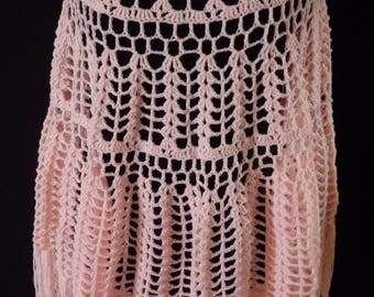 Crochet Pink Lace Poncho for cocooning, pink wool