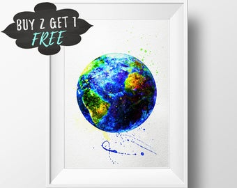 Earth Art Print Poster, Planet Earth Wall Art Nursery Decor Printable Watercolor Instant Download, Baby Girl Nursery Large Wall Art