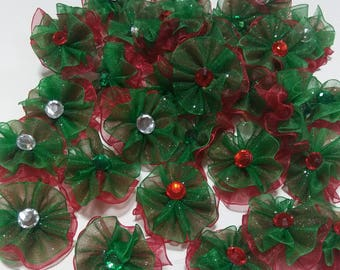 30 pompom style Christmas bows with bling
